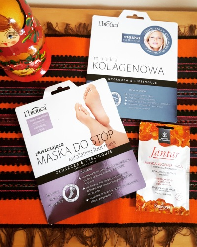 Exfoliating foot mask, collagen mask and regenerating hair mask